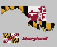 3D Kaartoverzicht en vlag van Maryland, Heraldische banner van George Calvert, 1st Baron Baltimore stock illustratie