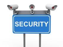 3d kabeltelevisie-camera's op veiligheidsaanplakbord Stock Fotografie