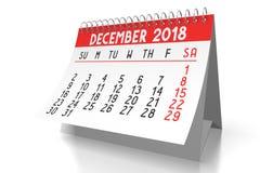 3D 2018 kalendarz - Grudzień Obraz Stock