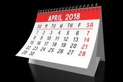 3D 2018 kalendarz - Kwiecień Zdjęcia Stock