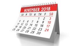 3D 2018 kalendarz - Listopad Fotografia Stock