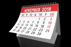 3D 2018 kalendarz - Listopad Zdjęcie Stock