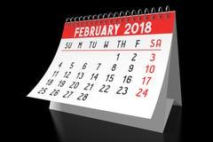 3D 2018 kalendarz - Luty Fotografia Stock