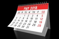 3D 2018 kalendarz - Maj Zdjęcia Stock