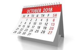 3D 2018 kalendarz - Październik Obraz Stock
