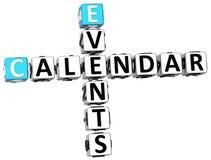 3D kalendarza wydarzeń Crossword Zdjęcie Stock