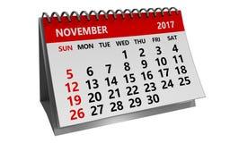 3d kalender van november 2017 Stock Afbeeldingen