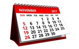 3d kalender van november 2017 Stock Afbeelding