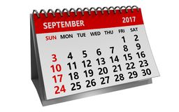 3d kalender van september 2017 stock illustratie