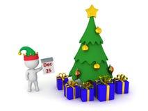 3D Karakter die 25 December, Kerstboom tonen, en Verpakt Stock Afbeeldingen