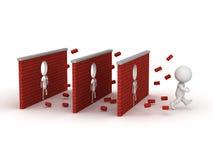 3D Karakter die Drie definitief-02-VASTE Bakstenen muren doornemen - jpg vector illustratie