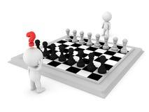 3D Karakter die een beweging tegen zijn tegenstander in schaak proberen te maken royalty-vrije illustratie