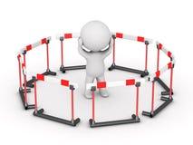 3D Karakter door barrières wordt omringd die Royalty-vrije Stock Afbeelding