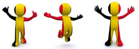 3d karakter geweven met vlag van België Stock Foto