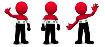3d karakter geweven met vlag van Syrië Stock Afbeelding