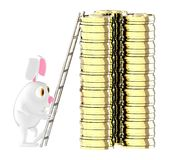 3d karakter, konijn die op een stapel van goud coinswith de hulp van ladder bewegen royalty-vrije illustratie