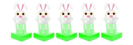 3d karakter, konijn die, s zich op een verschillende pijl tegen één richting bevinden stock illustratie