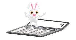 3d karakter, konijn die zich over een calculator bevinden vector illustratie