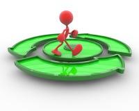 3d karakter loopt op de groene cirkelpijl Royalty-vrije Stock Afbeeldingen