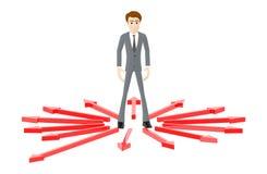 3d karakter, mens die zich in centrum op verschillende richting gerichte pijlen bevinden royalty-vrije illustratie