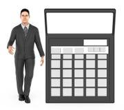 3d karakter, mens en een calculator royalty-vrije illustratie