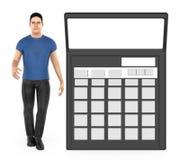 3d karakter, mens en een calculator vector illustratie