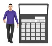 3d karakter, mens en een calculator stock illustratie