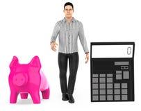 3d karakter, mens, spaarvarken en een calculator royalty-vrije illustratie