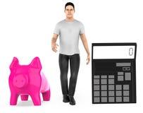 3d karakter, mens, spaarvarken en een calculator stock illustratie