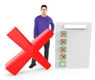 3d karakter, mensen droevig, dwarsteken en een klembord met rood kruisteken vector illustratie