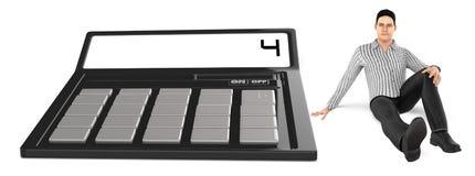 3d karakter, mensenzitting dichtbij aan een calculator stock illustratie