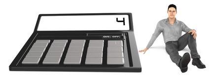 3d karakter, mensenzitting dichtbij aan een calculator royalty-vrije illustratie
