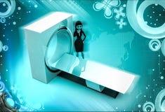 3d karakter met CT aftastenmachine om 3d lichaamsillustratie af te tasten Stock Foto