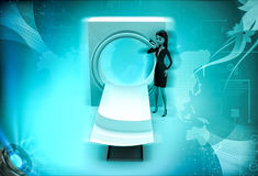 3d karakter met CT aftastenmachine om 3d lichaamsillustratie af te tasten Royalty-vrije Stock Foto