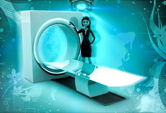 3d karakter met CT aftastenmachine om 3d lichaamsillustratie af te tasten Stock Fotografie