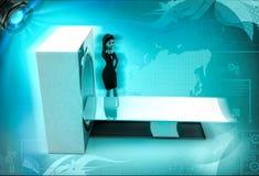 3d karakter met CT aftastenmachine om 3d lichaamsillustratie af te tasten Royalty-vrije Stock Foto's