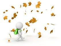 3D Karakter met Schooltas en Autumn Leaves Stock Afbeeldingen