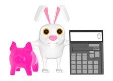 3d karakter, spaarvarken en een calculator royalty-vrije illustratie