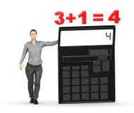 3d karakter, vrouw die een calculator voorstellen en 3+1= 4 Stock Foto's