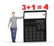 3d karakter, vrouw die een calculator voorstellen en 3+1= 4 Royalty-vrije Stock Foto's