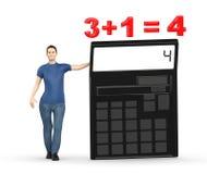 3d karakter, vrouw die een calculator voorstellen en 3+1= 4 Stock Foto