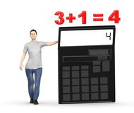 3d karakter, vrouw die een calculator voorstellen en 3+1= 4 Stock Afbeelding