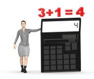 3d karakter, vrouw die een calculator voorstellen en 3+1= 4 Royalty-vrije Stock Fotografie