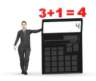 3d karakter, vrouw die een calculator voorstellen en 3+1= 4 Royalty-vrije Stock Foto
