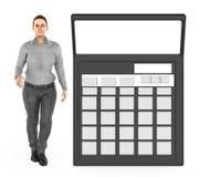 3d karakter, vrouw en een calculator vector illustratie