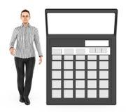 3d karakter, vrouw en een calculator stock illustratie