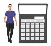3d karakter, vrouw en een calculator royalty-vrije illustratie