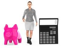 3d karakter, vrouw, spaarvarken en een calculator royalty-vrije illustratie