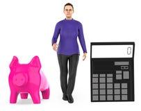 3d karakter, vrouw, spaarvarken en een calculator vector illustratie