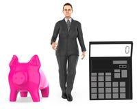 3d karakter, vrouw, spaarvarken en een calculator stock illustratie